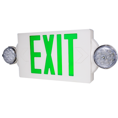 Green/Combo EXIT/Emergency Universal Mount LED Thermoplastic Unit