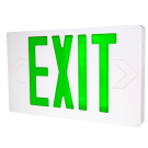 LED Exit w/ Battery Backup Green Letters 120/277V